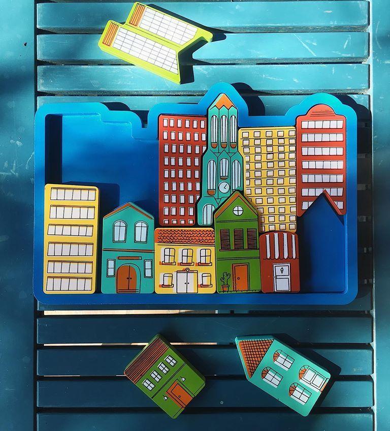 Quebra-Cabeça Urbano, de Madeira, da NewArt - Cód. 307