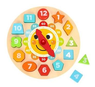 Relógio de Encaixe - Solzinho, de Madeira, da Tooky Toy - Cód. TL675