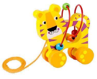 Brinquedo de madeira e aramado Tigre de Puxar, da Tooky Toy - Cód. TKE-008