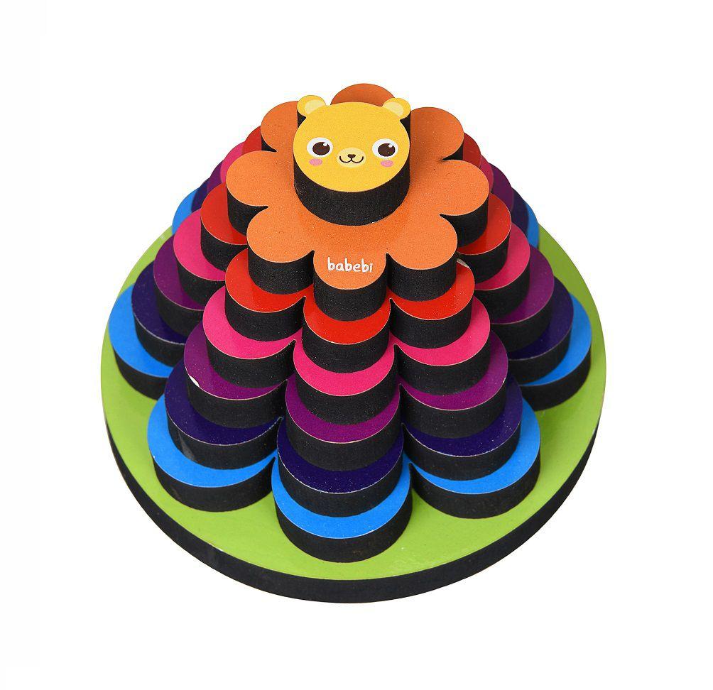 Brinquedo de madeira Torre do Leãozinho, da BaBeBi - Cód. 6016