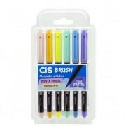 Estojo Cis Brush Pen Aquarelável - Tons Pastel 6un