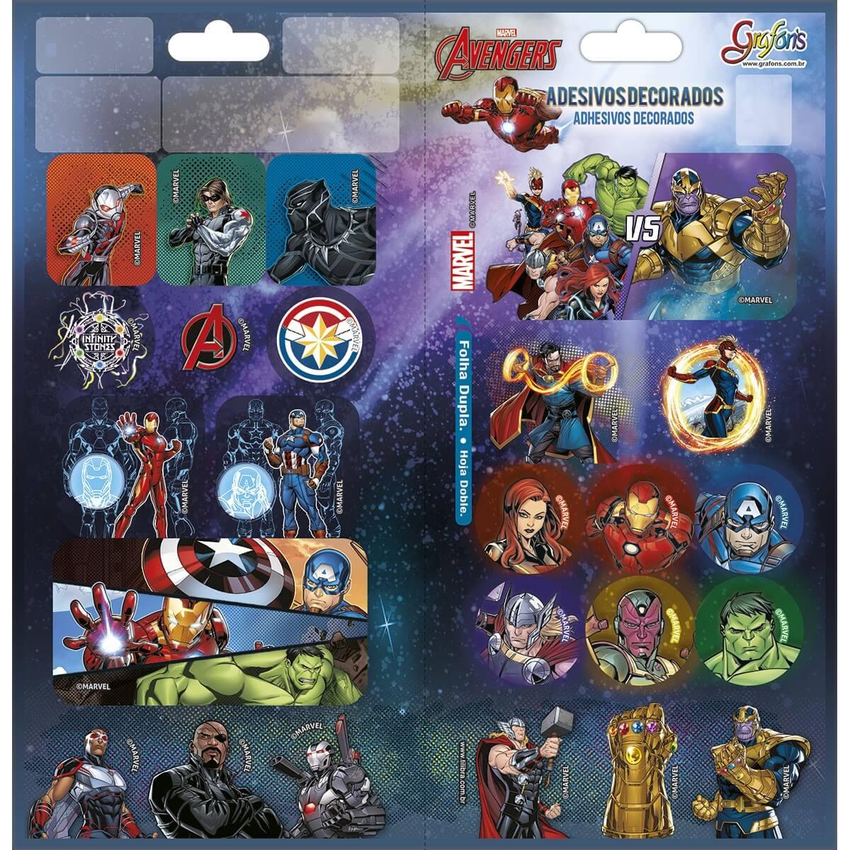 Adesivo Decorado Duplo Avengers Tilibra