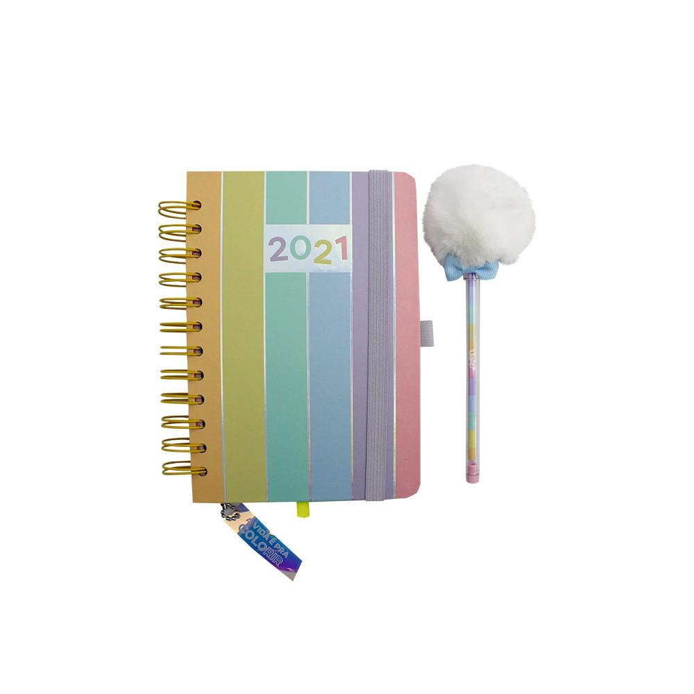 Agenda 2021 Com Caneta de Pompom Uatt? - Cores