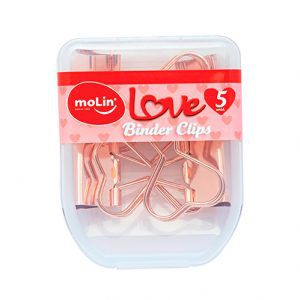 Binder Clips Molin - Coração Rose Gold 25mm