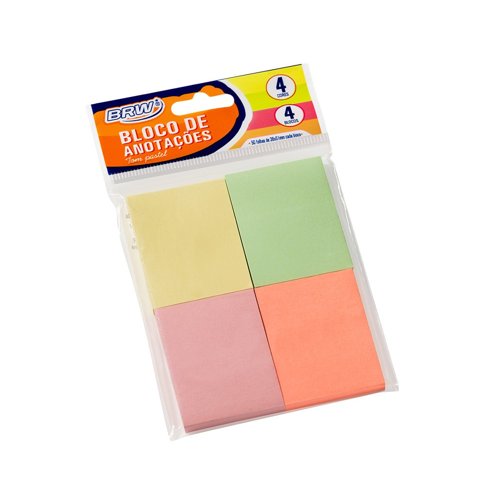 Bloco Adesivo Colorido Pastel Quadrado 4 unidades BRW