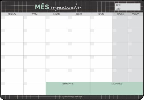 Bloco Planner Mensal Cartões Gigantes - Grid