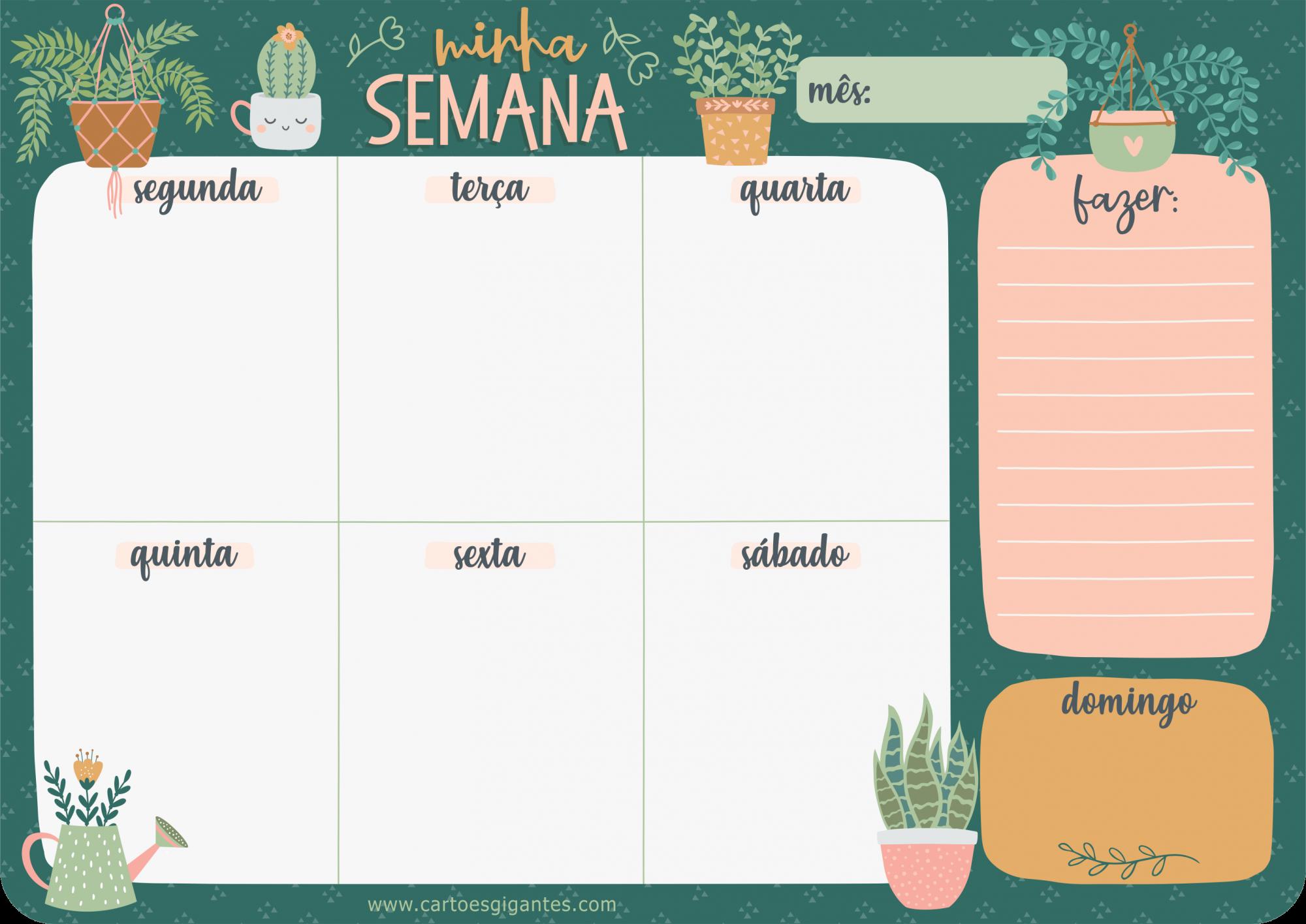 Bloco Planner Semanal Cartões Gigantes - My Garden