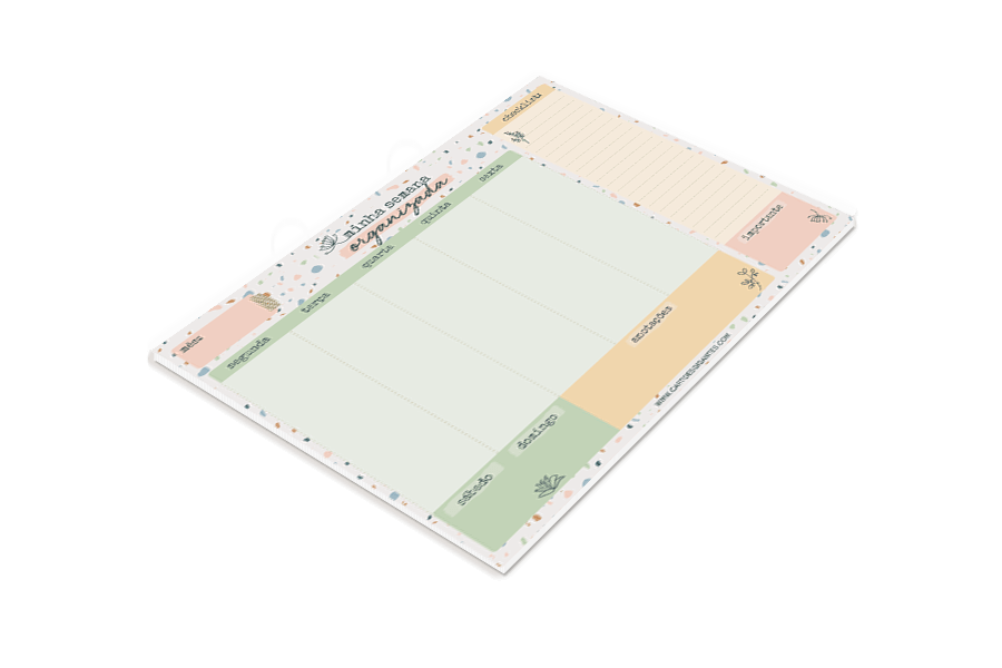 Bloco Planner Semanal Cartões Gigantes - Terrazzo