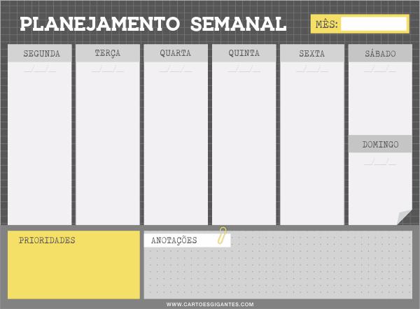 Bloco Planner Semanal Cartões Gigantes - Urban