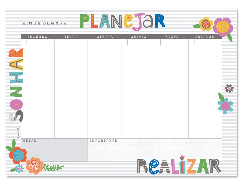 Bloco Planner Semanal Fina Ideia - Frases Coloridas