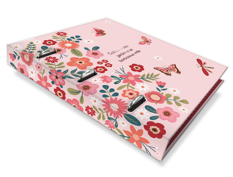 Caderno Argolado Fichário Fina Ideia - Borboletas