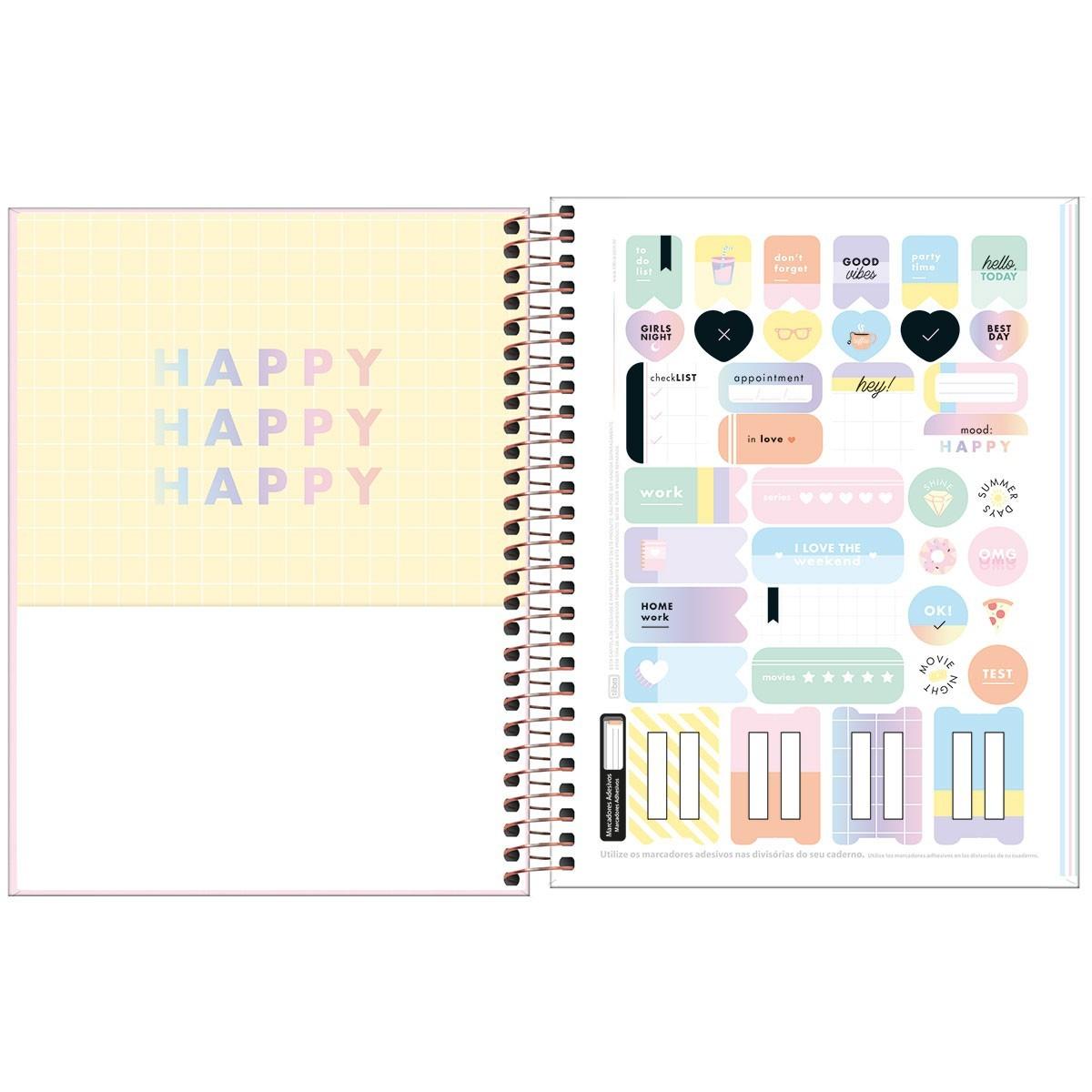 Caderno Colegial Colorido 160 Folhas 10 Matérias Tilibra - Happy