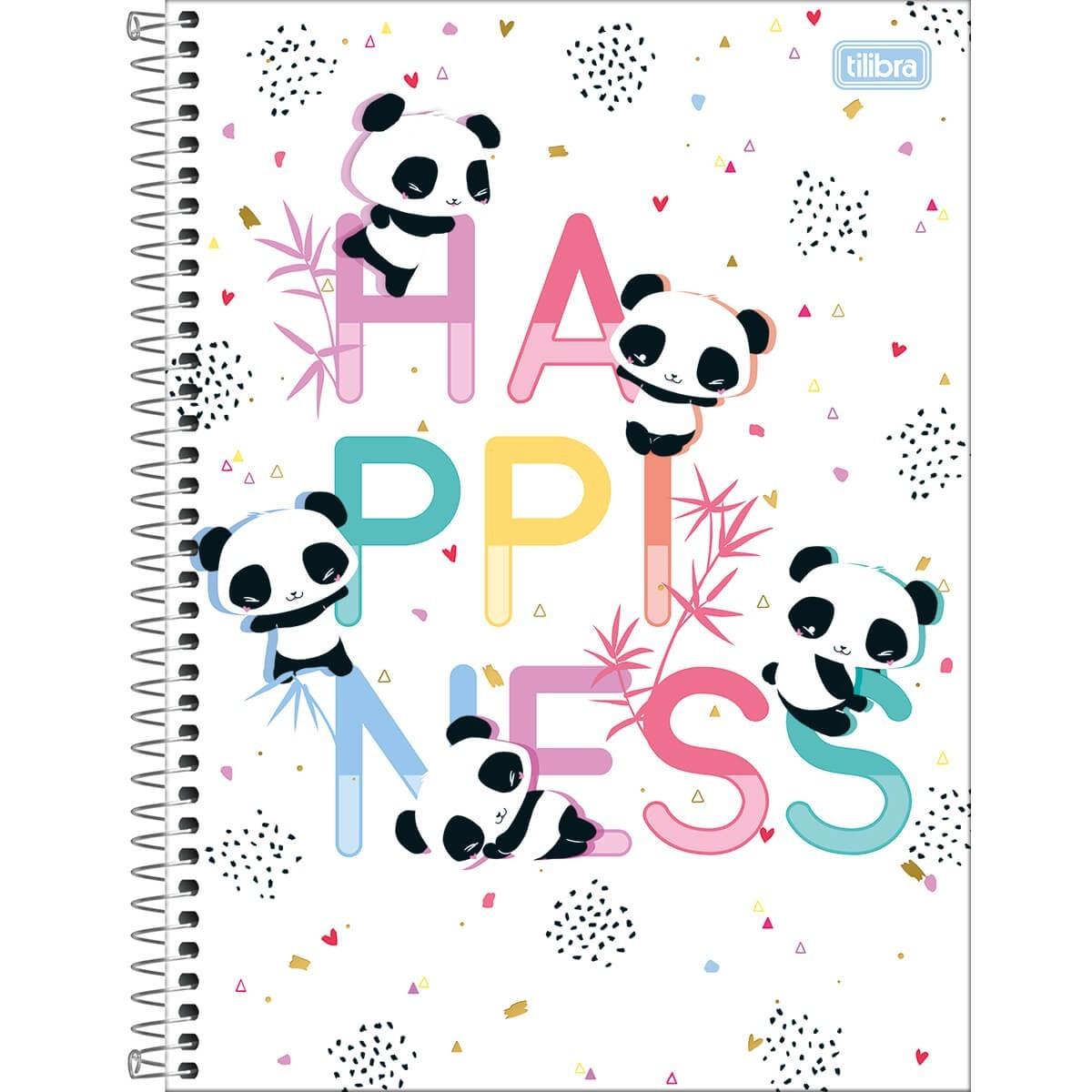 Caderno Universitário 80 Folhas Tilibra - Panda Lovely