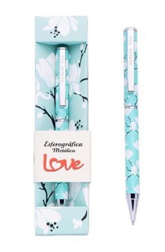 Caneta Metálica Floral Azul Molin Luxo