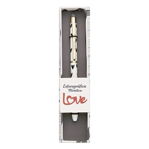 Caneta Metálica Touch Heart Black Molin Luxo