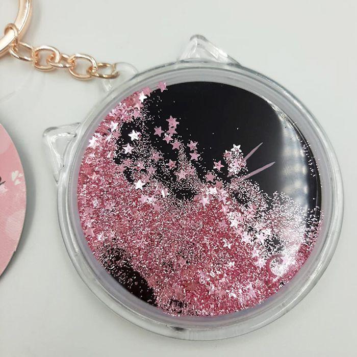 Chaveiro Espelho - Gatinha Preto com Rosa