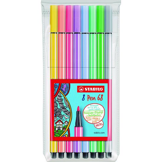 Estojo Stabilo Pen 68 - 8 Cores Pastel