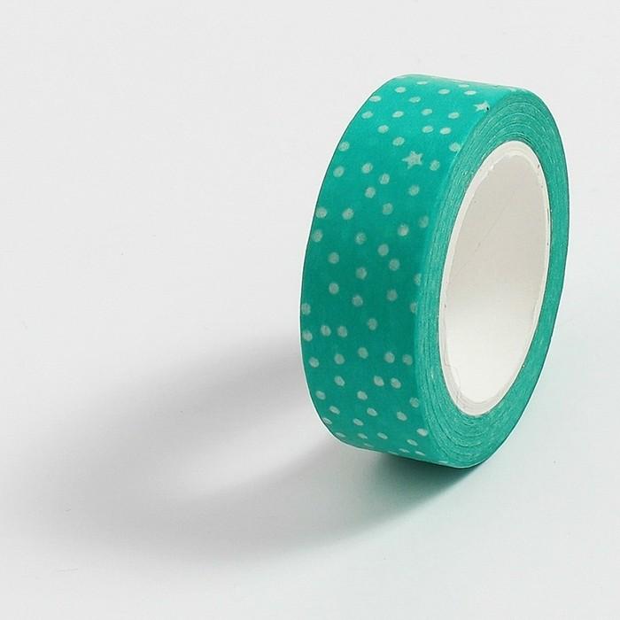 Fita Adesiva Decorativa Washi Tape - Poá Verde Água