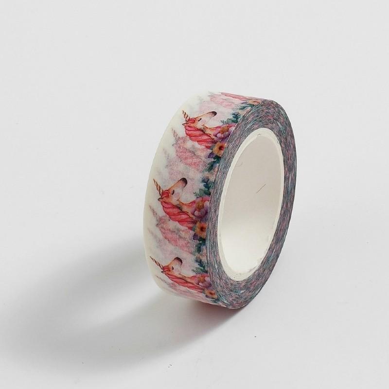 Fita Adesiva Decorativa Washi Tape - Unicórnio Floral