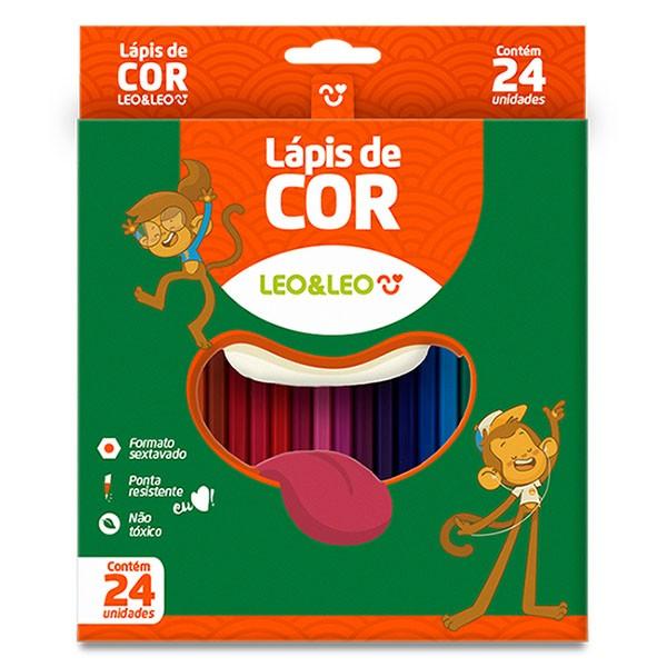 Lápis de Cor Resina Sextavado Leo & Leo 24 Cores