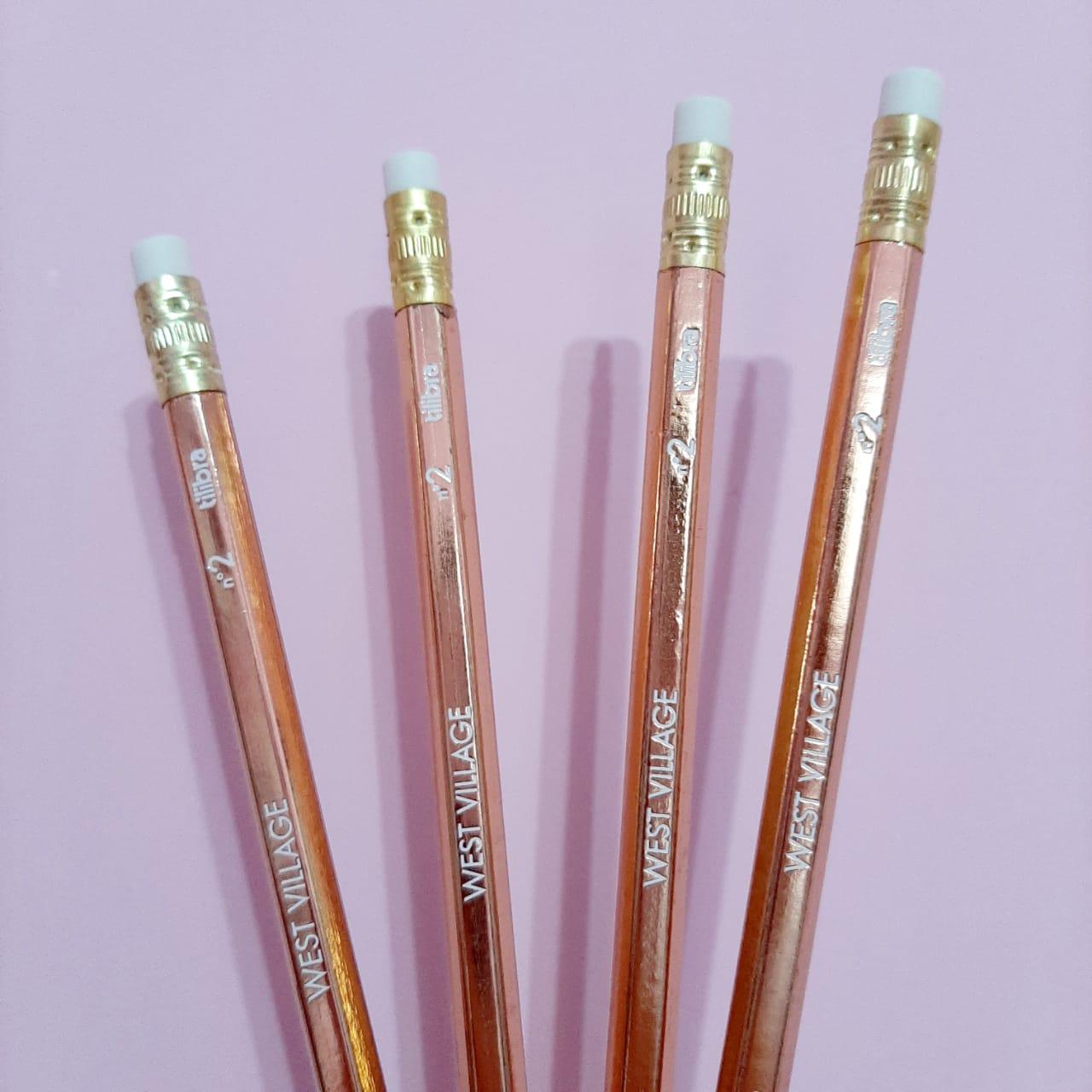 Lápis Preto Sextavado com Borracha N.2 Tilibra - Dourado ou Rose Gold