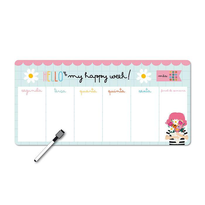 Memo Board Magnético Horizontal - Happy Buquê