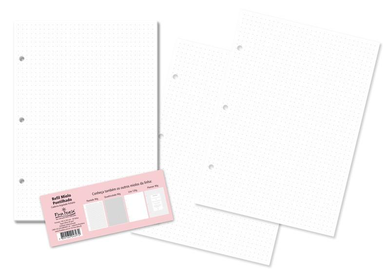 Refil Caderno Argolado Fina Ideia - Miolo Branco Quadriculado ou Pontilhado