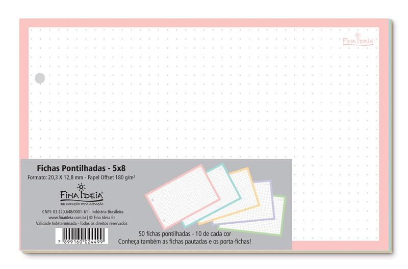 Refil 50 Fichas Fina Ideia Pautadas