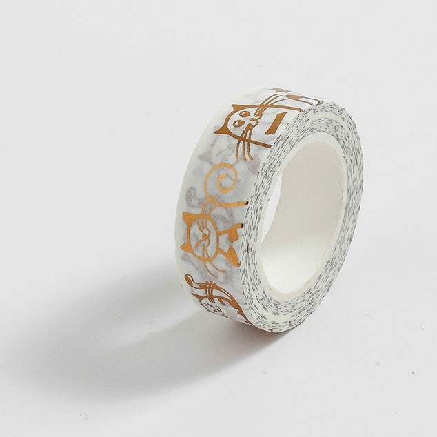 Fita Adesiva Decorativa Washi Tape com Foil Rose Gold - Gatinho