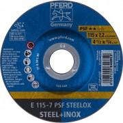 Disco de desbaste PFERD PSF STEELOX para aço diversos e aço inox 115 - 7,2 - 22