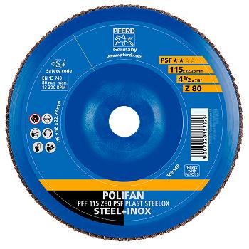 Disco Flap Pferd Polifan PSF Steelox costado de plástico 115 Grão 80