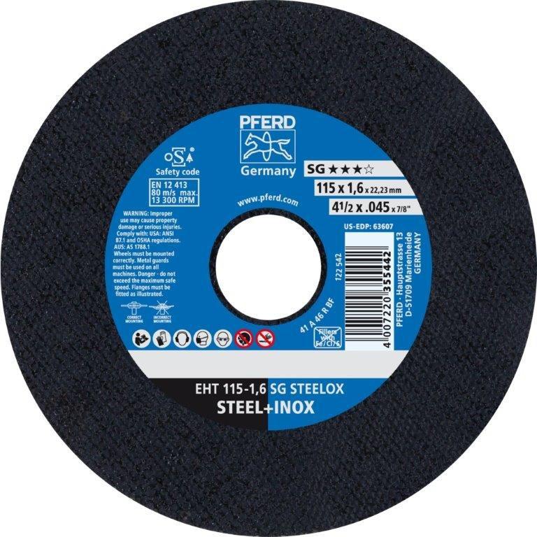 Disco de Corte para Inox PFERD EHT SG STEELOX 115-1,6