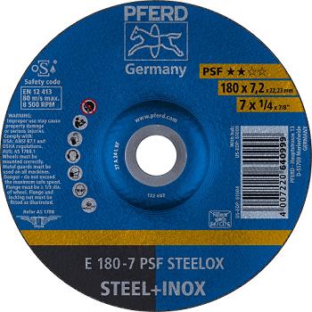 Disco de desbaste PFERD PSF STEELOX para aço diversos e aço inox 180 - 7,2 - 22