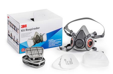 Respirador Semi facial 3M Série 6200 + Cartucho 6001 + Filtro 5N11 + Adaptador 501