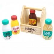 Brinquedo de Madeira Coleção Comidinhas Bebidas Lácteas - NewArt