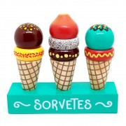 Brinquedos de Madeira Coleção Comidinha Kit Sorvetes - NewArt