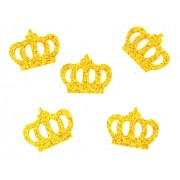 Coroa Dourada em Eva Com Gritter - Kit Com 300 Unidades