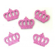 Coroa Rosa em Eva Com Glitter - Kit Com 360 Unidades