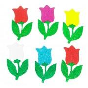 Flor Tulipa Eva com Glitter- Kit com 220 Unidades