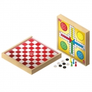 Jogo Damas e Ludo em Madeira 30 x 30 cm - Brincadeira de Criança