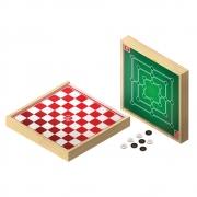 Jogo Damas e Trilha 30 x 30 cm - Brincadeira de Criança