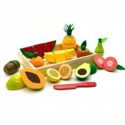 Coleção Comidinhas Kit Frutas  com Corte Brinquedo de Madeira - NewArt