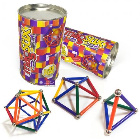 Magstix Barras Magnéticas Coloridas kit com 56 Peças - Magnetech
