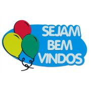 Painel de Boas Vindas em EVA   Sejam Bem Vindos em EVA Azul com Balões