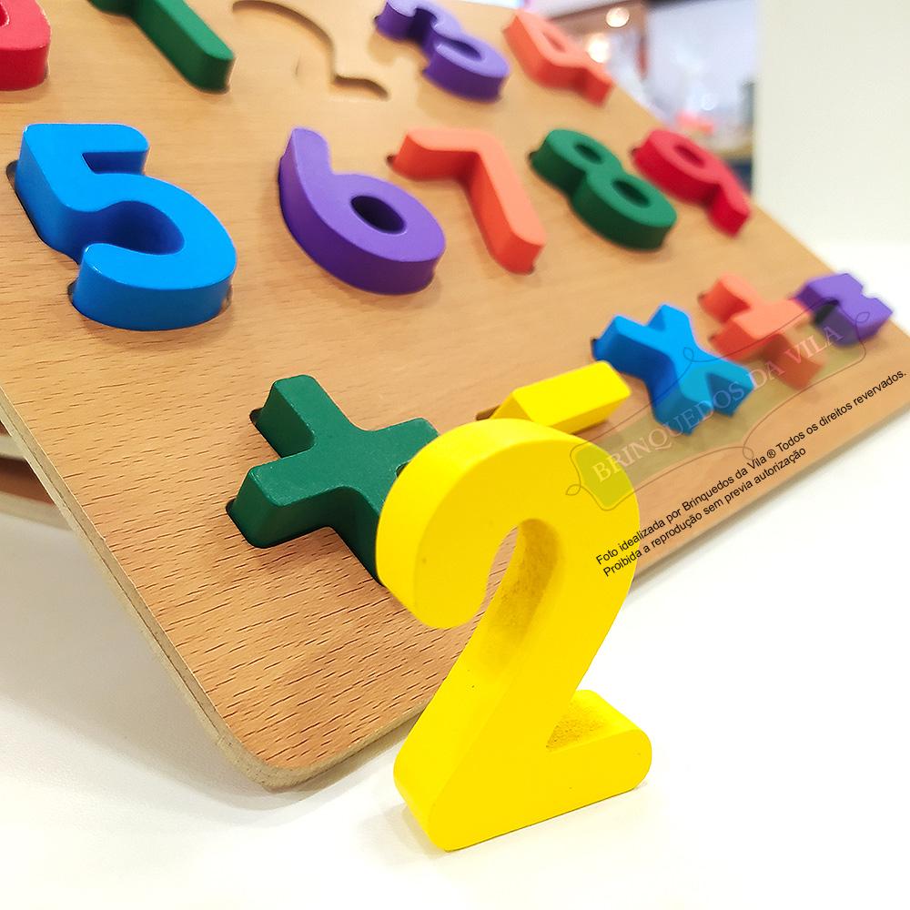 Alfabeto em Madeira MDF Kit Montessoriano Com Números e Letras Tabuleiro Móvel Pedagógico