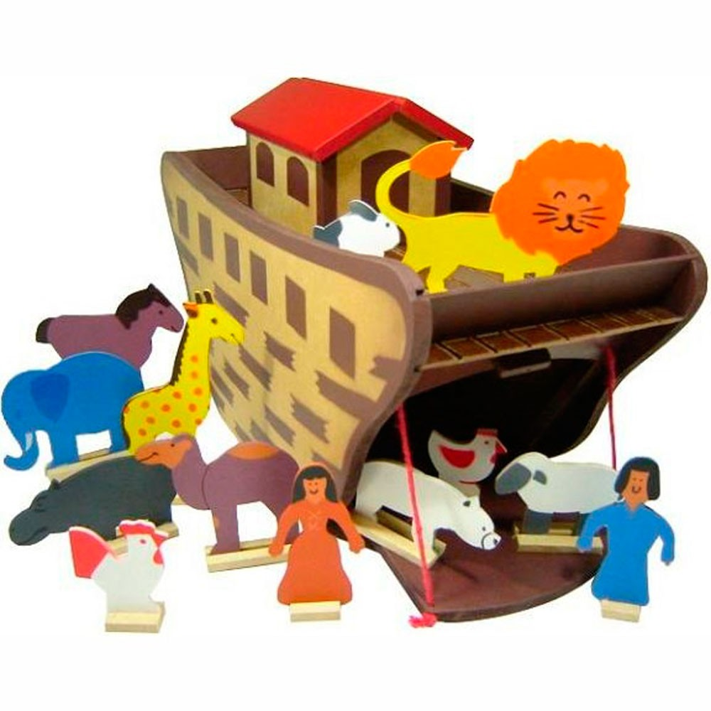 Arca de Noé com Animais Brinquedo de Madeira
