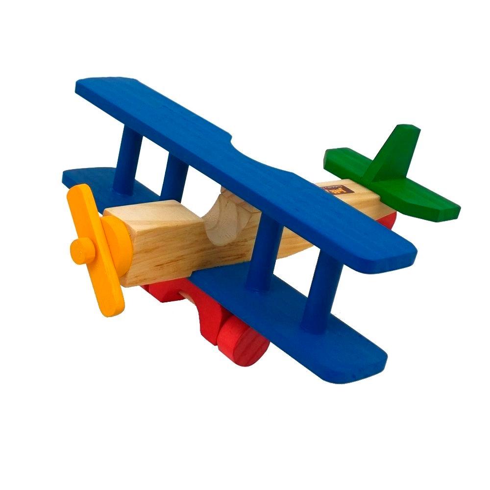 Avião de Madeira Biplano com Hélice Giratoria - Jott Play