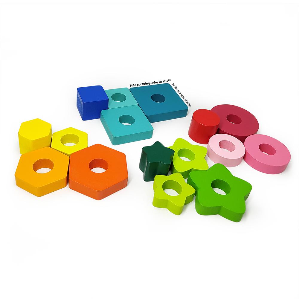 Blocos de Formas Geométricas de Encaixe em Madeira Pedagógico Infantil