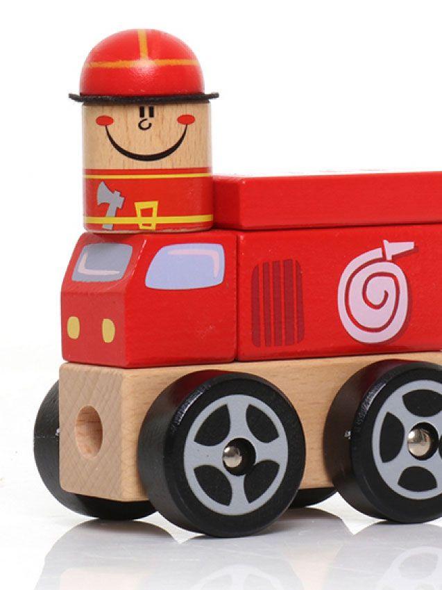 Carrinho bombeiro de encaixe - Dican