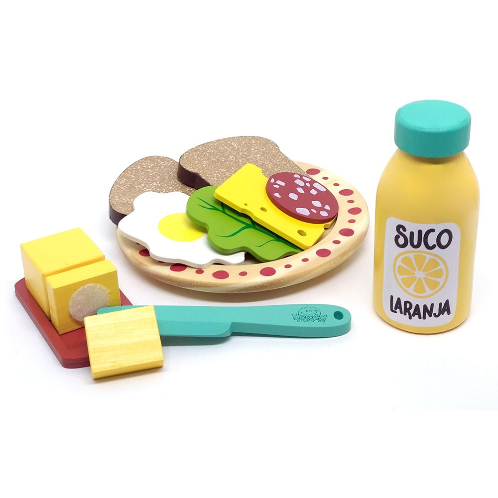Brinquedo de Madeira Kit Lanche Coleção Comidinha - NewArt